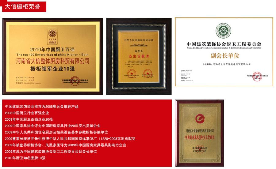 大信橱柜公司荣誉