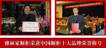 雅丽家荣获中国橱柜十大品牌荣誉称号