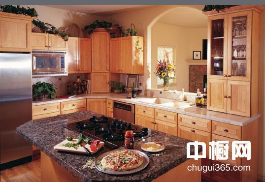 欧式实木橱柜配冰箱效果图片